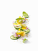 Cucumber salad with red onions and yellow tomato