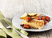 Baked wild pacific cod with tomato alad