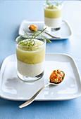 Cold cucumber yogurt soup with salmon tartare