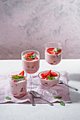 Strawberry mousse with fresh strawberries and mint