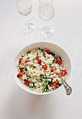 Cauliflower tabbouleh with cherry tomatoes and mint