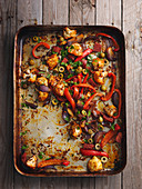 Spanish cauliflower with bell pepper and olives