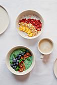 New York overnight oats and matcha chia pudding