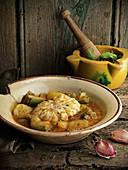 Braised monkfish with zucchini