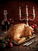 Christmas turkey on a silver platter