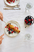 Filled banana crepes with fresh berries