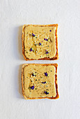 Toast with tahini, honey and mallow blossoms