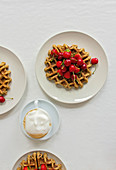 Oat waffles with cherries