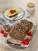 Protein bread with quark, chia, seeds and almonds