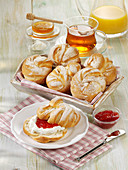 Homemade breakfast rolls with cottage cheese and strawberry jam