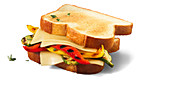 Cheese sandwich with grilled peppers