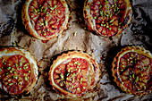 Blood orange tartlets made from puff pastry