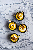 Passion fruit pudding with creme fraiche