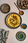 Socca (Farinata) with Mushrooms and Za'atar (Vegan Chickpea Pancake)