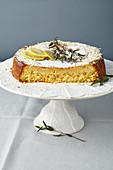 Torta Caprese al lime (almond cake with white chocolate)