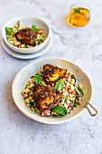 Moroccan Spiced Chicken Thighs on a Summer Bulghur and Chickpea Salad