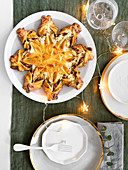 Baked star pie with leek and bacon