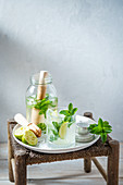 Mojito with lime, mint, rum and brown sugar