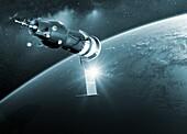 Soyuz 1 in Earth orbit, illustration