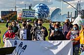 Oil pipeline closure protest, Michigan, USA