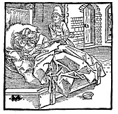 Man catching his wife with a monk, 15th century illustration