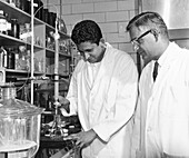 Dr. H. Gobind Khorana and Dr. T. Mathai Jacob in laboratory
