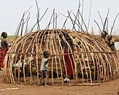 Building a Daasanach tribe hut