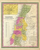 Ancient map of Palestine and adjacent countries, 1846