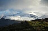 Snowdon (Yr Wyddfa), UK, in snow and cloud