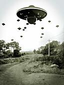 UFO invasion, illustration