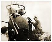 August Piccard entering gondola, 1931