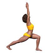 Woman in warrior 1 yoga pose, illustration