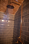 Water spraying from copper shower head in tiled shower