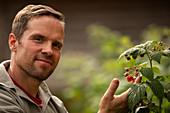 Confident man tending to raspberry plant in garden