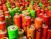 Battery recycling, conceptual illustration