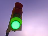 Green traffic light, illustration