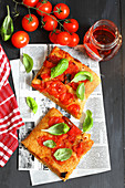 Sourdough pizza with fresh tomatoes