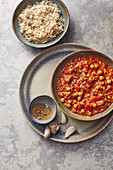 Indian tomato and chickpea curry served with rice