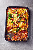 Courgette lasagne with sunflower seeds and Cheddar cheese