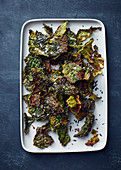 Baked savoy and sesame seed crisps