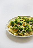Brussels sprouts in a garlic and parsley coating on lemon couscous