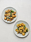 Homemade gnocchi with walnut butter and sage butter