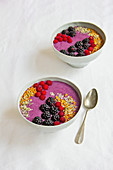 Vegan wild berry bowl with flaxseed and soy milk