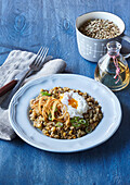 Sour lentils with onion rings and poched egg