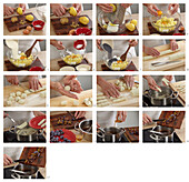 Potato and poppy seed cones with damsoncheeser - step by step