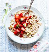 Muesli with fresh strawberries