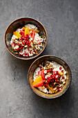 Overnight muesli with citrus fruits