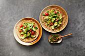 Buckwheat pancakes with vegetables and wild garlic pesto