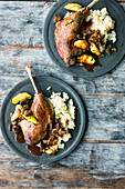 Goose legs with apples and chestnuts