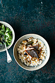 Nut risotto with char and lamb's lettuce